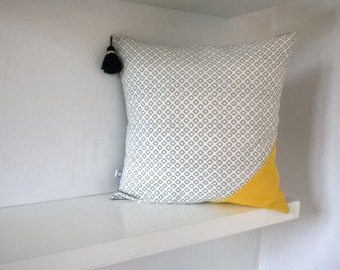 Grey, white and yellow square Cushion cover