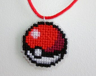 Pixel Pokeball Necklace