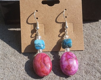 Blue&Pink Turquoise Earrings