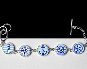 """Nautical Bracelet-Sailor Style Blue and White Stripes-Rockabilly, Anchor, Helm, Lighthouse, Compass, Nautical Star-16mm or 5/8"""" Silver"""