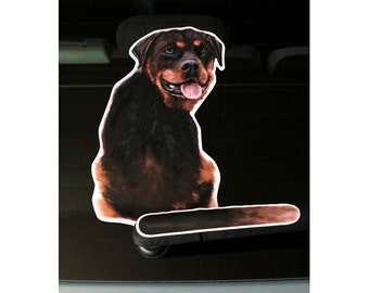 Rottweiler dog rear window wiper wagging tail sticker
