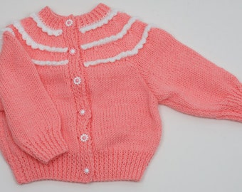 Girls Picot Yoke Cardigan