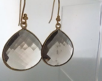 Gold wire wrapped faceted round smoky champagne  dangle earrings jewelry.
