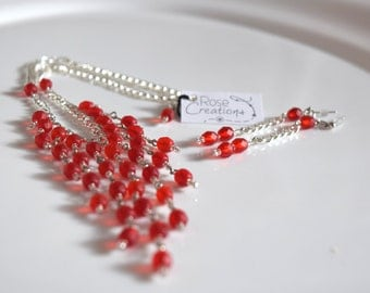 Necklace, red necklace, earrings, red, frosted, red string silver color, set necklace and earrings, Kit
