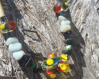 Lampwork glass, turquoise bead necklace.