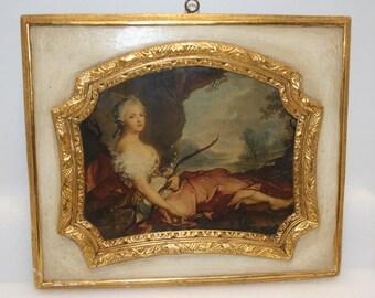 Large chalkware portrait; Mencarini Brothers, Washington DC; goddess Diana; Artemis; Florentine style wall decor