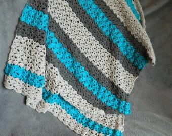 Blue & Grey Simply Soft Crochet Baby Blanket