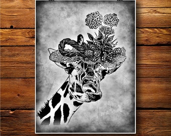 Giraffe Print, Animal Decor, Savanna Poster  BW319