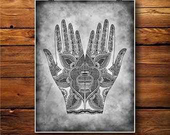 Mehndi Hands Print, Hindu Henna Tattoo art,  Spiritual Poster   BW440