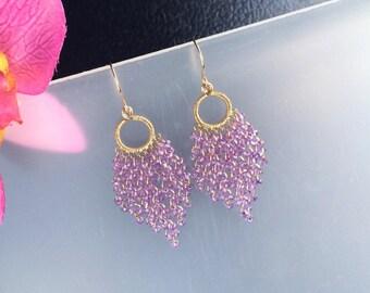 Gold Filled Lavender Quartz Chandelier Earrings