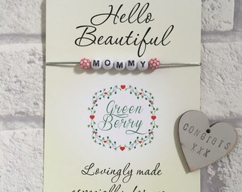 "Beaded String Bracelet with ANY word on ""Hello Beautiful"" quote card madebygreenberry wish bracelet"