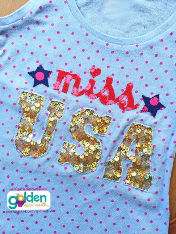 4th of July Miss USA Sequin Tee or Dress, I love America, Fourth of July, July 4, Independence Day, Shirt or Dress