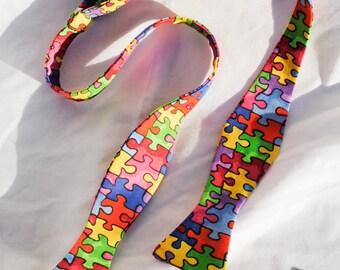 Men's Autism Awareness Self Tie Bow Tie Adjustable