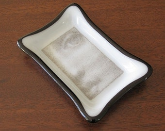 Black and White Fused Glass Soap Dish with Face
