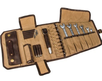 Motorcycle Tool Roll made of beige waxed cotton and brown leather. Tool bag motorcycle.