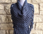 Ready to Ship!! The Dripping Heart Scarf, Chunky Scarf with Fringe, Handkchief  Scarf, Triangle Scarf