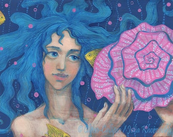 Listening to the Sea, Little Mermaid, Underwater Fantasy Art, Pink & Blue, original artwork and prints