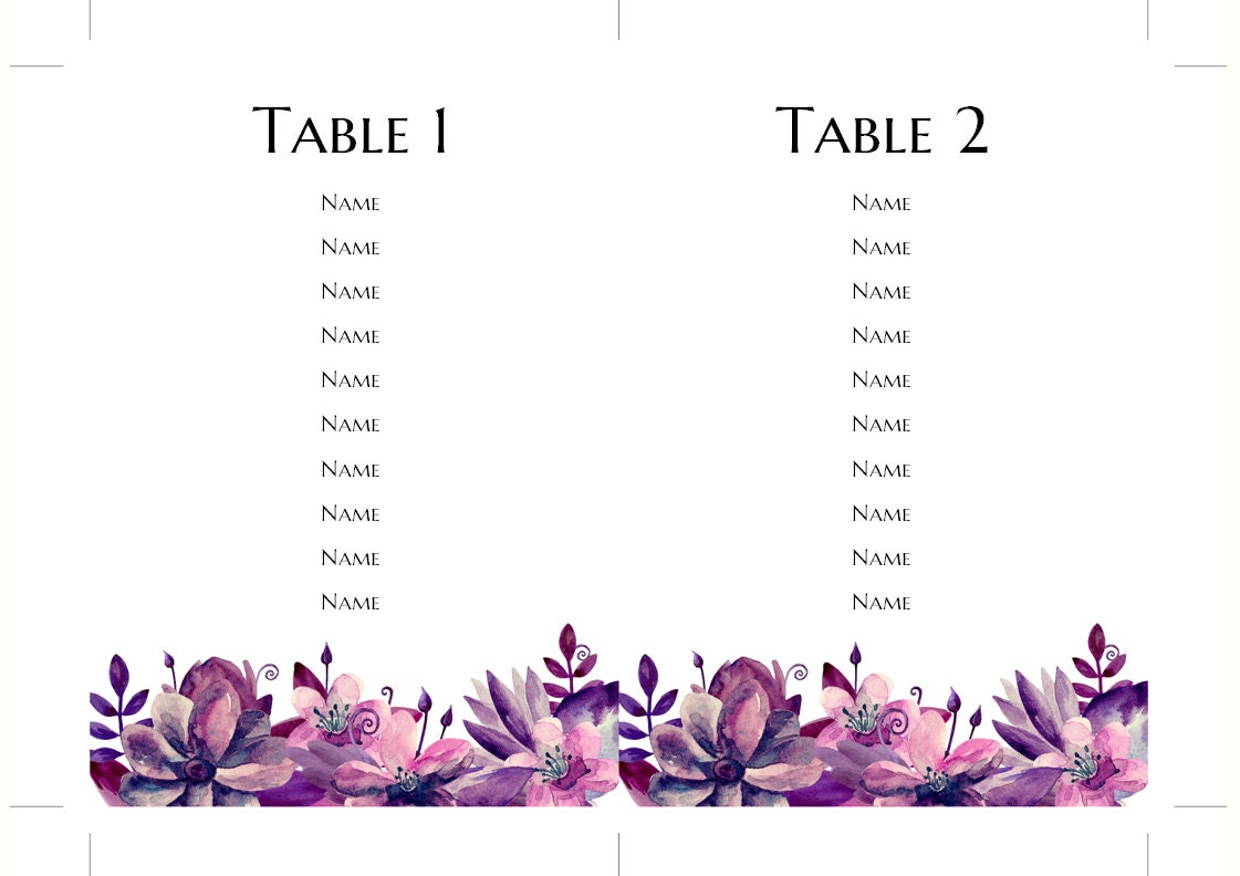 table plan for wedding template