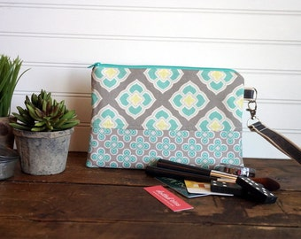Clutch Bag - Teal and Gray Tile Flowers with Removable Handle, Teal Zipper Clutch, Teal and Gray Zipper Bag