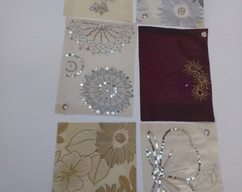 Craft Project Material, Fabric Swatches, Pack of 6, Ex-sample, Floral Patterns and Sequins, 6 Packs Available