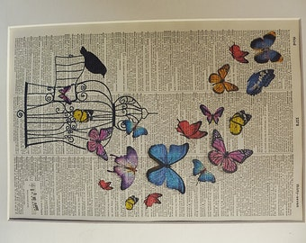 Bird Cage Print No.378, bird cage decor, bird cage poster, bird cage print, birdcage, bird, butterflies art, dictionary art
