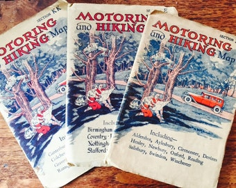 A trio of 1930's Vintage Motoring & Hiking maps. Sections J, E and KK. Go back in time and never get lost again.