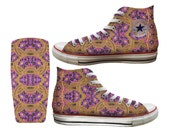 Traditional African Purple-Gold Flowers Printed Converse All Stars and Vans