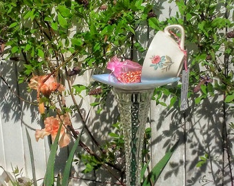 Mid-Century Teacup Bird Feeder Garden Totem Yard Art Recycled Repurposed Upcycled Gift for Mom Grandma