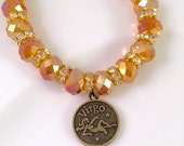 SALE Bead Charm Bracelet, Gold Zodiac Bead Bracelet, beaded jewelry, charm bracelets, faceted beads