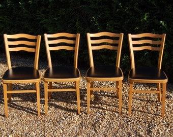 Fab! Set Of Four Retro Kitchen Chairs Vinyl Seats