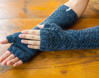 Wool fingerless mittens, long wool arm warmers, wool fingerless gloves, wool mittens