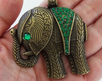 1 Large bronze elephant with emerald green rhinestones, boho pendant, elephant pendant, large elephant pendant, large elephant charm - F348