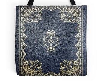 Gilded Gold and Blue Book Cover Tote Bag