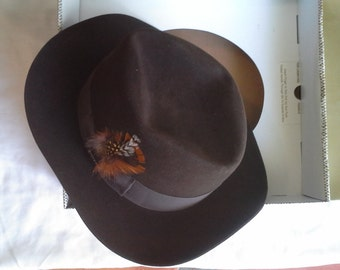 Stetson Hat, Chocolate Brown, size 7and3/8