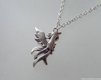 PHOENIX NECKLACE | silver-plated chain, waxed cord, leather |