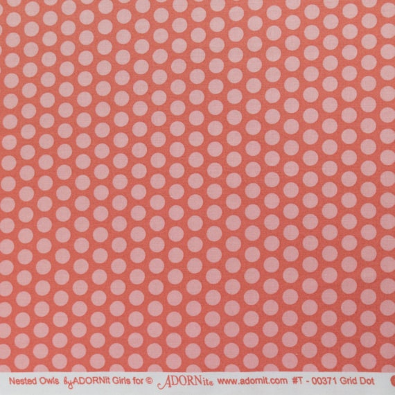 12 yd adornit grid polka dot coral t00372 from