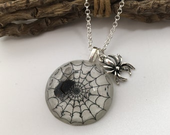 The Fly Trap - resin necklace with real fly and a spider charm. Spider web. Halloween.