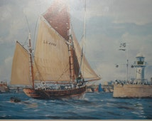 Rene Goulet, Returning Tuna Boat Picture, 82/88, Signed, Framed, Vintage, Collectible, Home and Living, Rare, Perfect Condition, Glass Frame