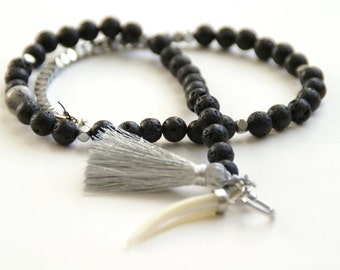 Black Lava Stone + Silver Beaded Wrap Bracelet
