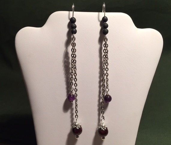 Chain Earrings. Sterling Silver Ear Wires. Garnet and Amethyst Gemstones. Lava Beads for Essential Oil Aromatherapy.