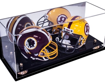 183ddf1c592 Deluxe Acrylic Double Mini Football Helmet Mini Goalie Mask Display Case  with Risers Mirror and Wall Mount (A019)