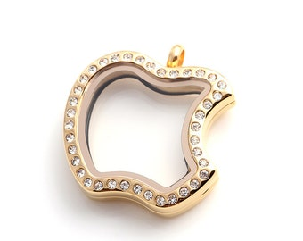 50% off - Gold Stainless Steel Apple Shape Magnetic Floating Locket with Crystals