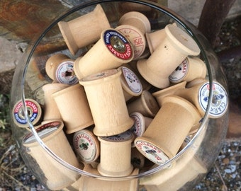 Lot of 60 Vintage Wooden Spools, sewing thread spools, assorted sizes
