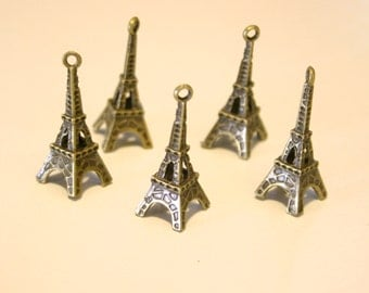 5 Bronze 3D Eiffel Tower Charms