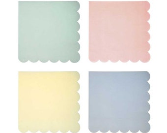 Pastel paper napkins in light peachy pink, mint green, light blue, and yellow with a scalloped edge. Set of 20. Pastel paper party napkins