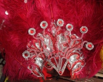Large Red and Silver Showgirl Costume