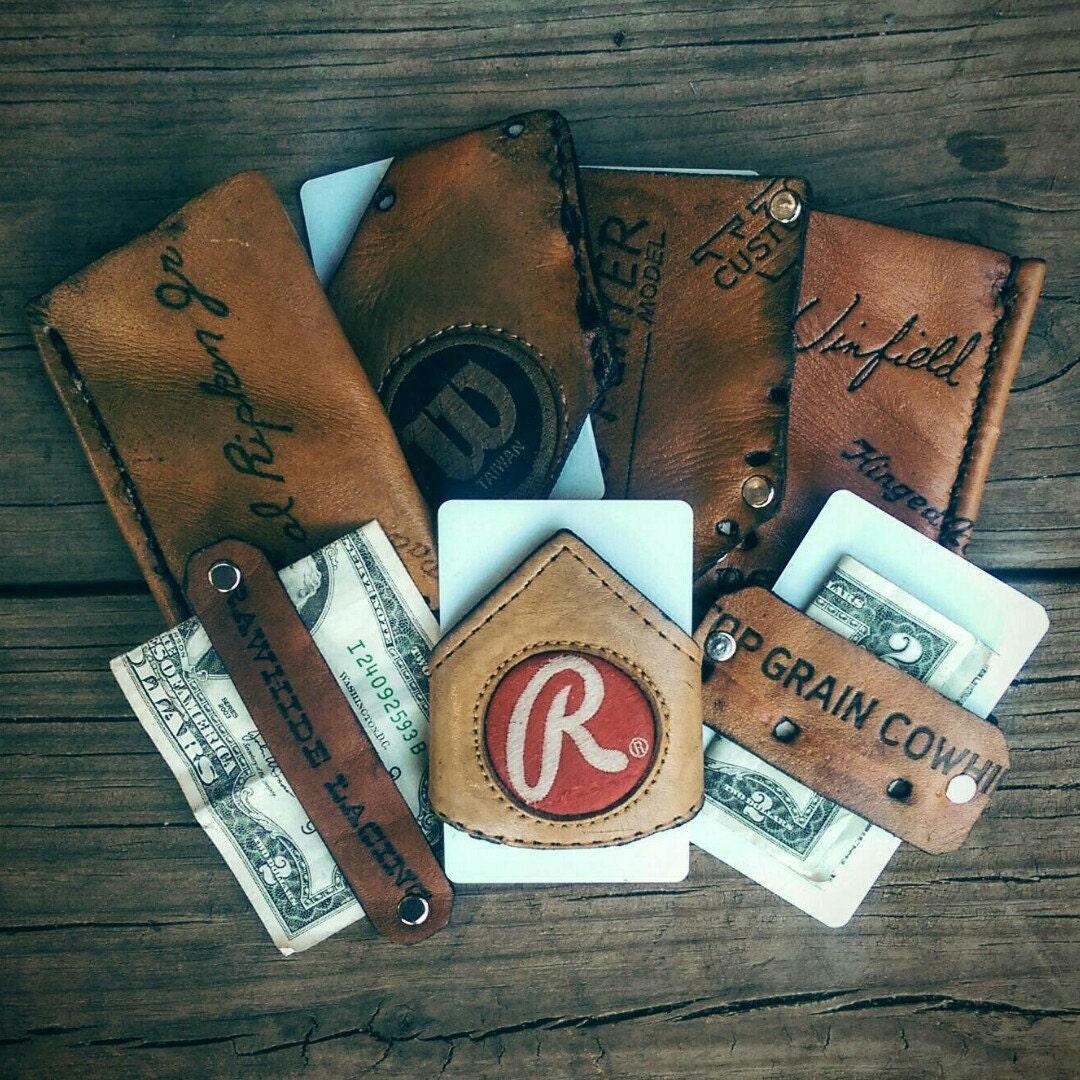 Recycled baseball glove wallet - Baseball Glove Wallet Recycled Leather Wallet Handmade Leather Wallet Thin Wallet Small Wallet Front Pocket Wallet 007e