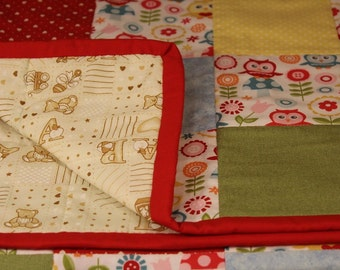 Patchwork Baby Quilt - Yellow, Blue & Red Owls