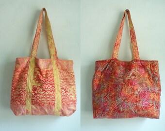 90s  multicolored reversible bag, beach bag, summer purse, printed purse, colorful, multicolored, casual purse, printed, reversible tote bag