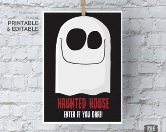 Halloween printable sign, Trick or Treat, Halloween, Ghost, Monster, Haunted, House, Halloween Decor, Poster, Wall Art, ZWDH0092